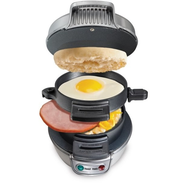 the sandwich maker with a slot to cook the egg, ham, and an english muffin