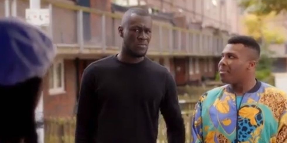 Stormzy and Olisa Odele as Ola in Chewing Gum