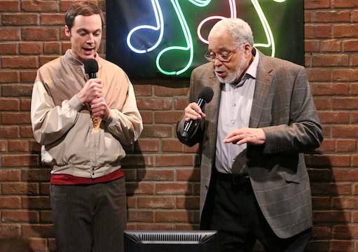 Jim Parsons as Sheldon singing alongside James Earl Jones in The Big Bang Theory