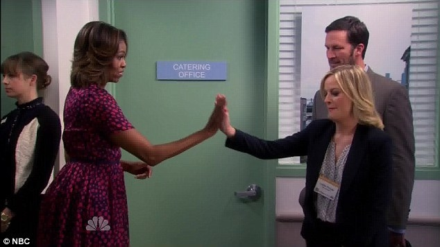 Michelle Obama and Amy Poehler as Leslie in Parks and Rec