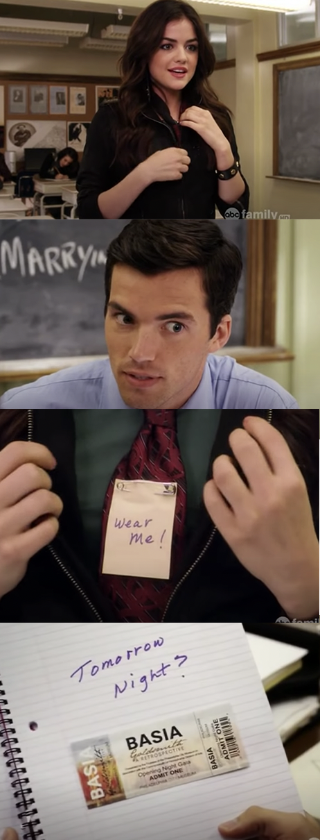 "Aria unzips her jacket in class to reveal that she's wearing a tie with the note ""wear me"" on it, then gives Ezra her notebook with a ticket to an art gallery event the next night"