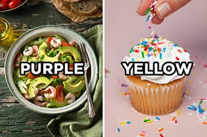 """On the left, a shrimp and avocado salad in a bowl with """"purple typed on top of the image, and on the right, someone sprinkles rainbow sprinkles onto a vanilla cupcake with vanilla frosting and """"yellow"""" is typed on top of the image"""