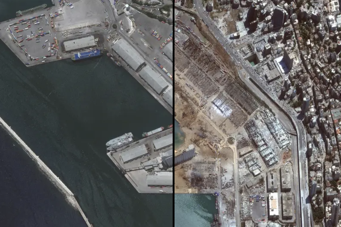 The port of Beirut is seen intact, and then destroyed, from an aerial view