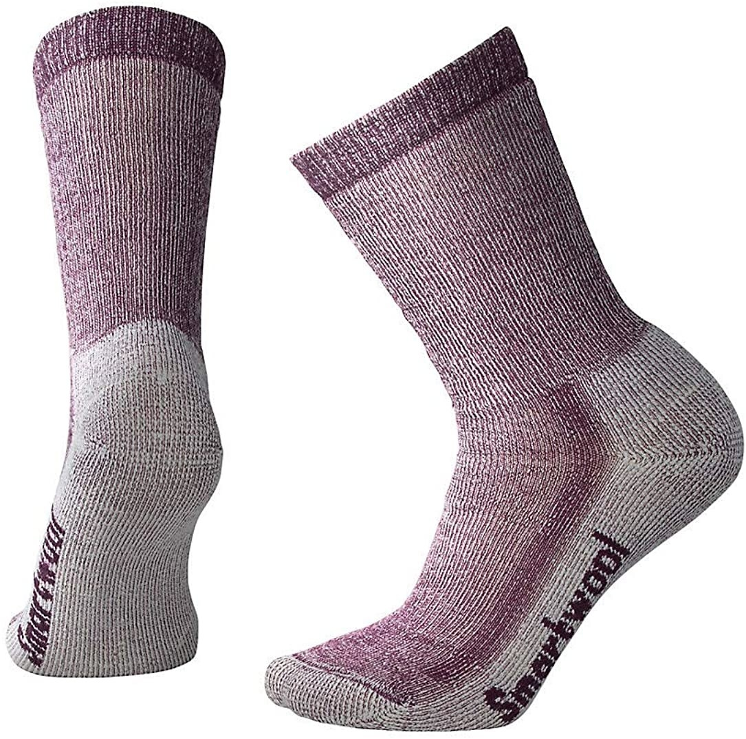 dark purple crew hiking socks