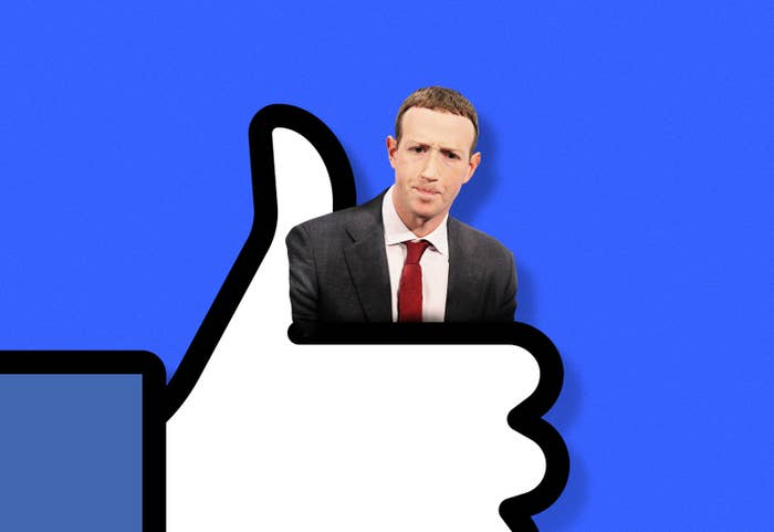 Mark Zuckerberg is being held tightly by a thumb's up icon
