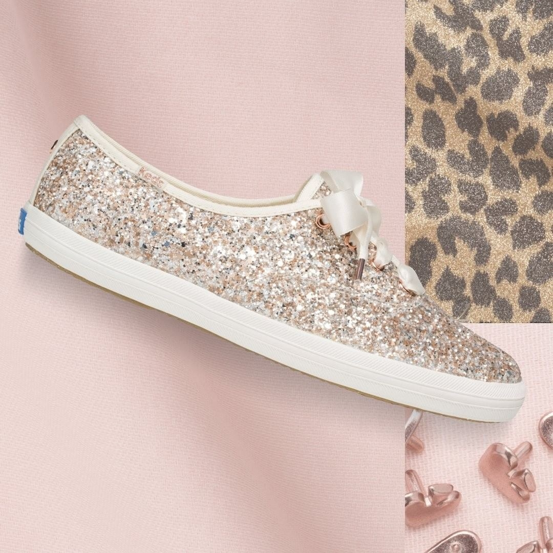 The low top sneaker with white sole, rose gold glitter all over the body and ribbon-like laces