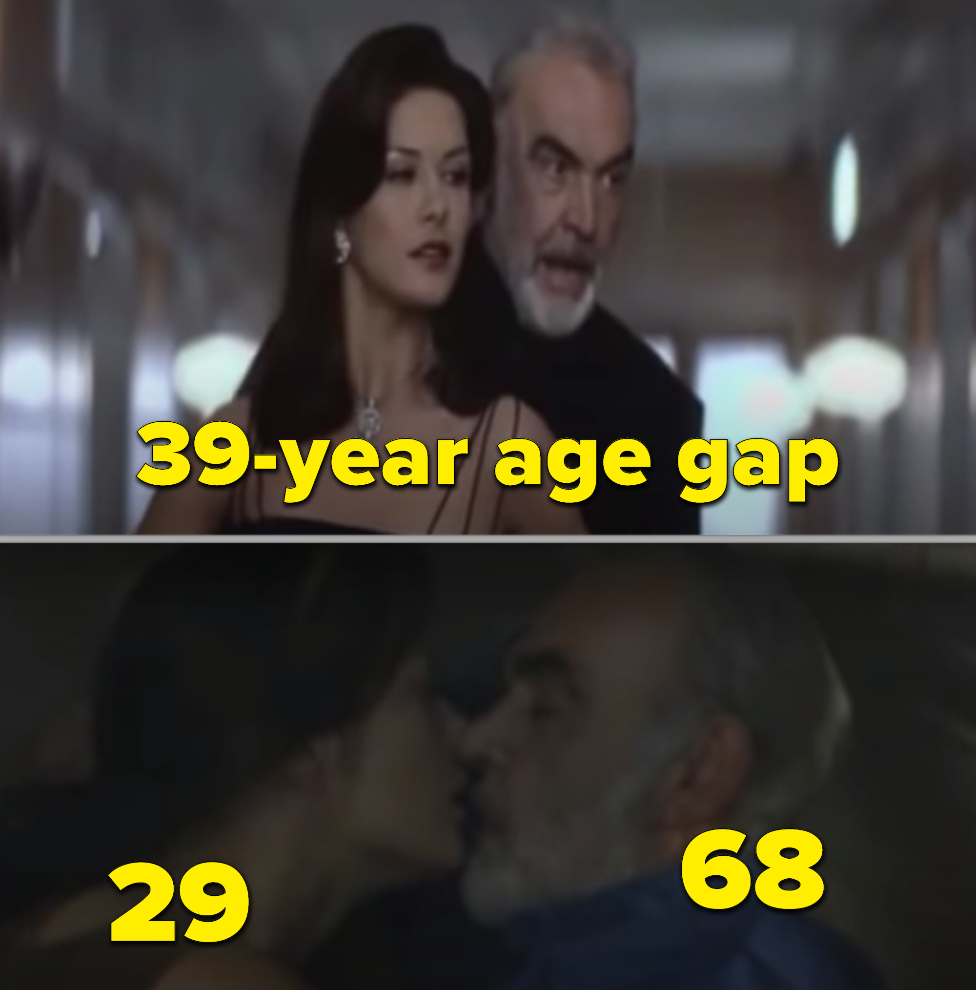 "Catherine Zeta-Jones and Sean Connery kissing in ""Entrapment"""