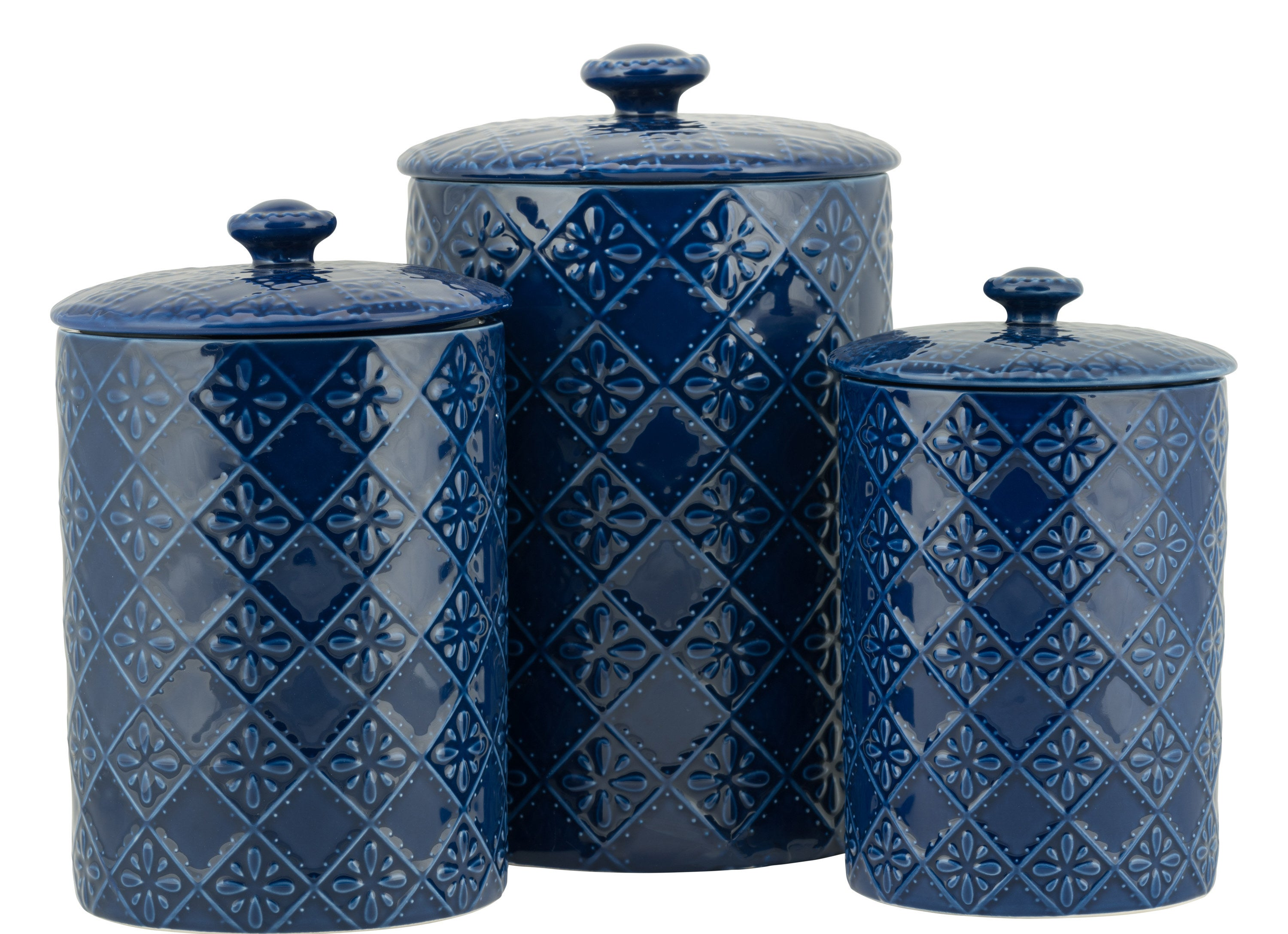 The three ceramic jars with floral design