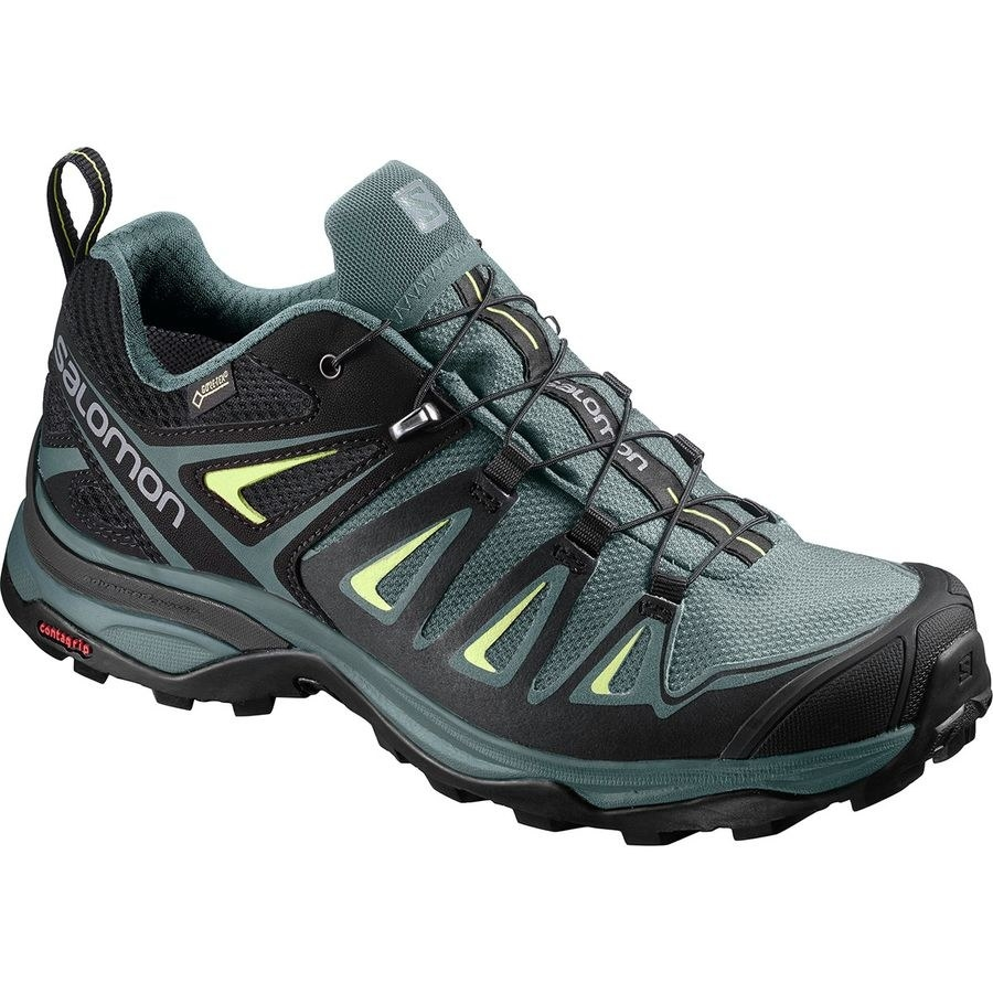 dark teal hiking shoes with neon green and black accents, a rubber toe, and a grippy sole