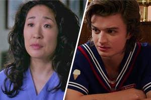 "On the left, Sandra Oh as Cristina Yang on ""Grey's Anatomy,"" and on the right, Joe Keery as Steve Harrington on ""Stranger Things"""