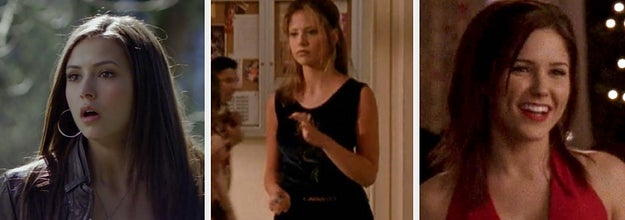 Elena from the vampire diaries in a long sleeve, a lacy tank, and a leather jacket. Buffy from Buffy the Vampire Slayer in a sleeveless minidress and high boots. Brooke from One Tree Hill in a v neck halter dress