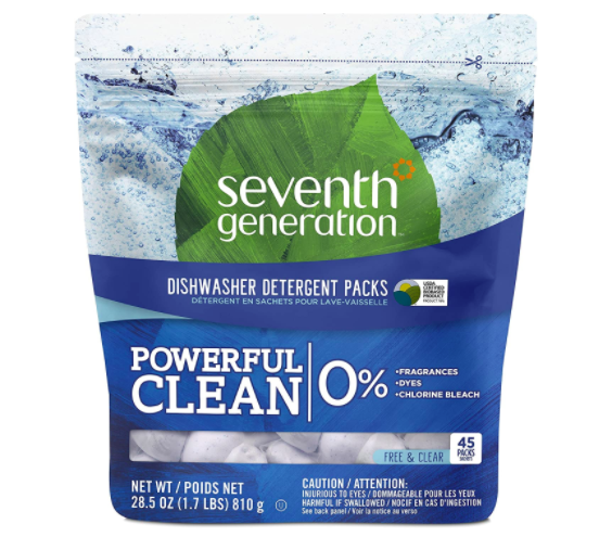Pack of Seventh Generation Dishwasher Detergent Packs with white pods inside