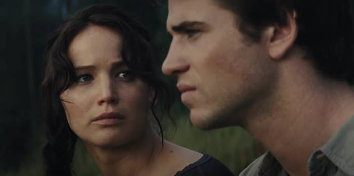 Katniss looking at Gale's face