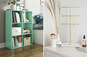 on the left, a mint green shelving unit. On the right, a gold jewelry stand