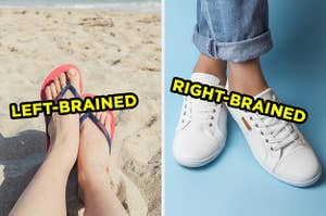 On the left, someone wears flip-flops on a sandy beach and