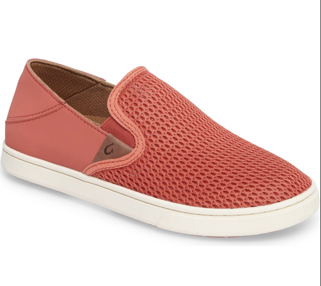 The slide-ones with a knit top and drop-in heel in orange with white sole
