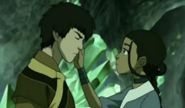Katara touching Zuko's face inside caves