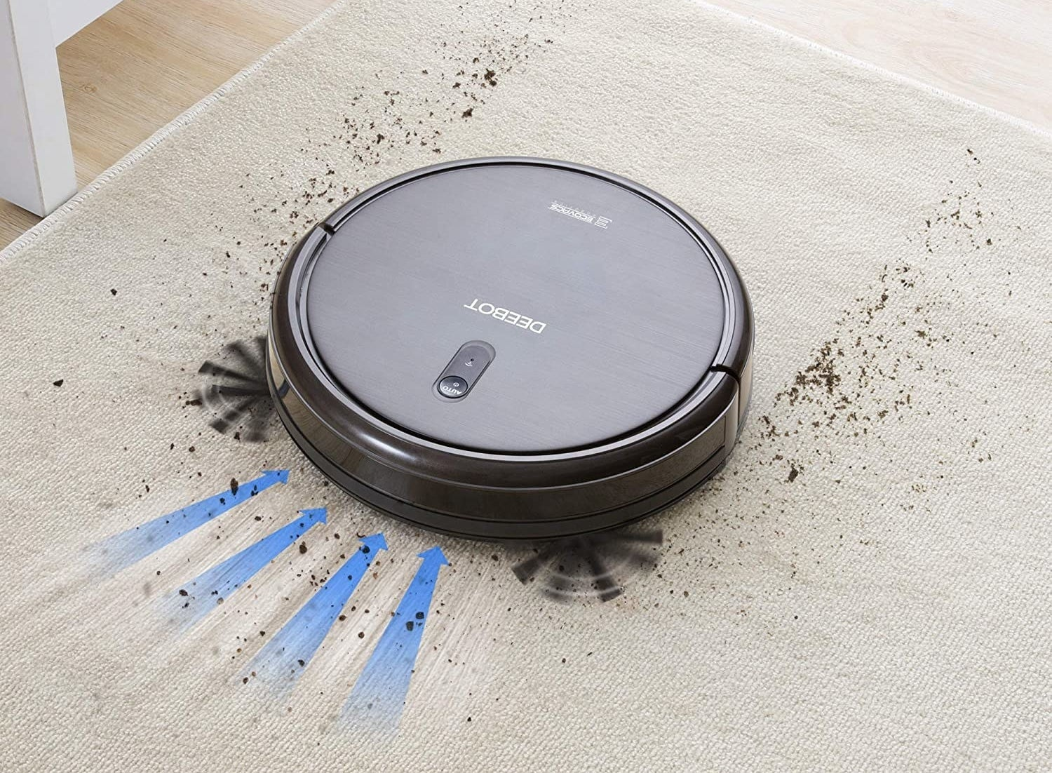 robot vacuum on carpet with crumbs