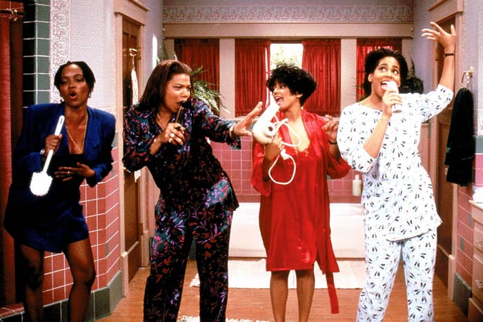 Max, Khadijah, Regine, and Sinclair all gather in the bathroom, using supplies as a microphone while singing