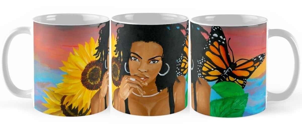 a mug with a panting of Lauryn Hill with a sunflower and butterfly on it