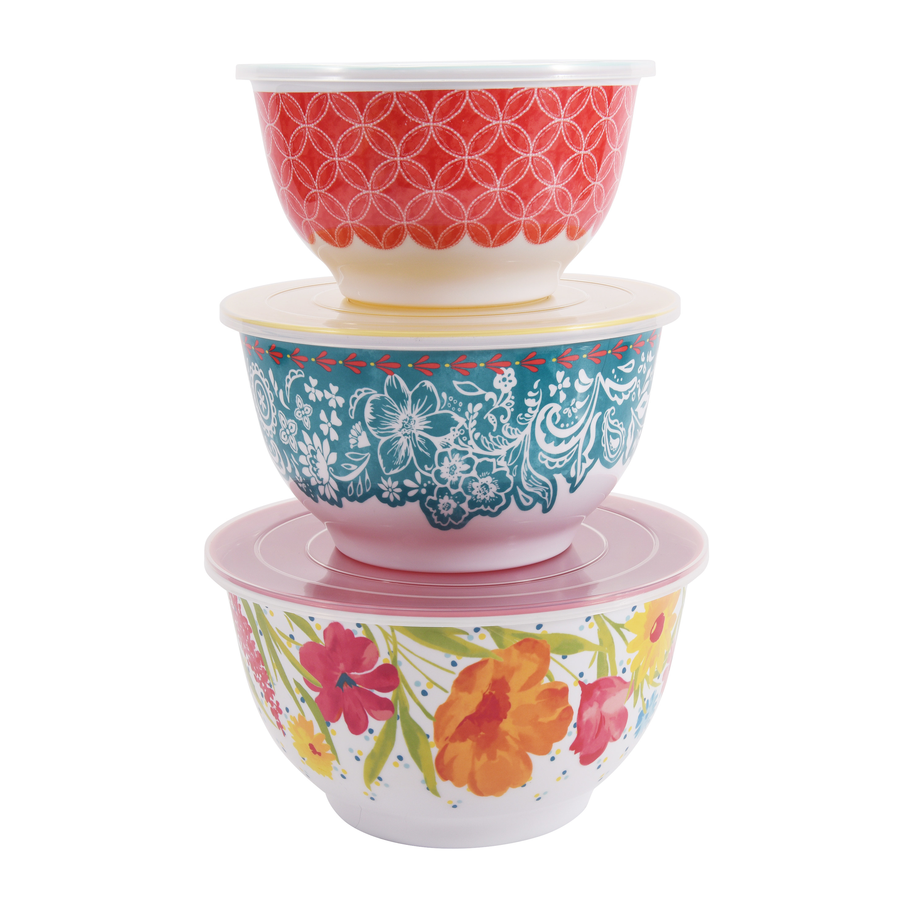 Three floral mixing bowls with lids stacked on top of each other