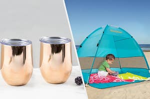 to the left: two gold wine tumblers, to the right: a tent for a baby on the beach