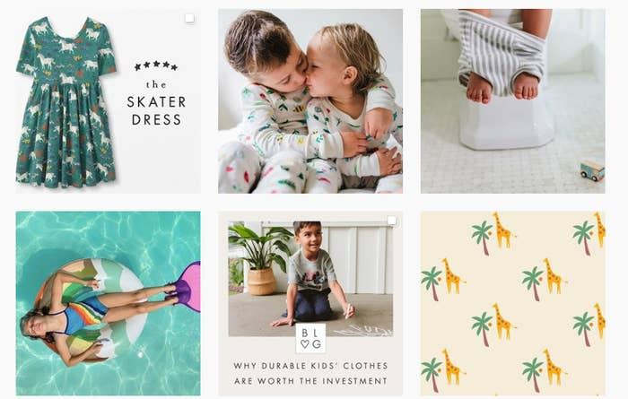 A screenshot of Hanna Andersson's Instagram pages shows a series of children modeling the company's clothes.