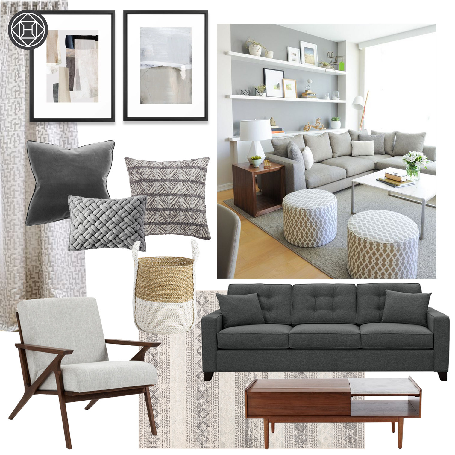 A design idea featuring a compilation of mid-century modern furniture in various gray tones.