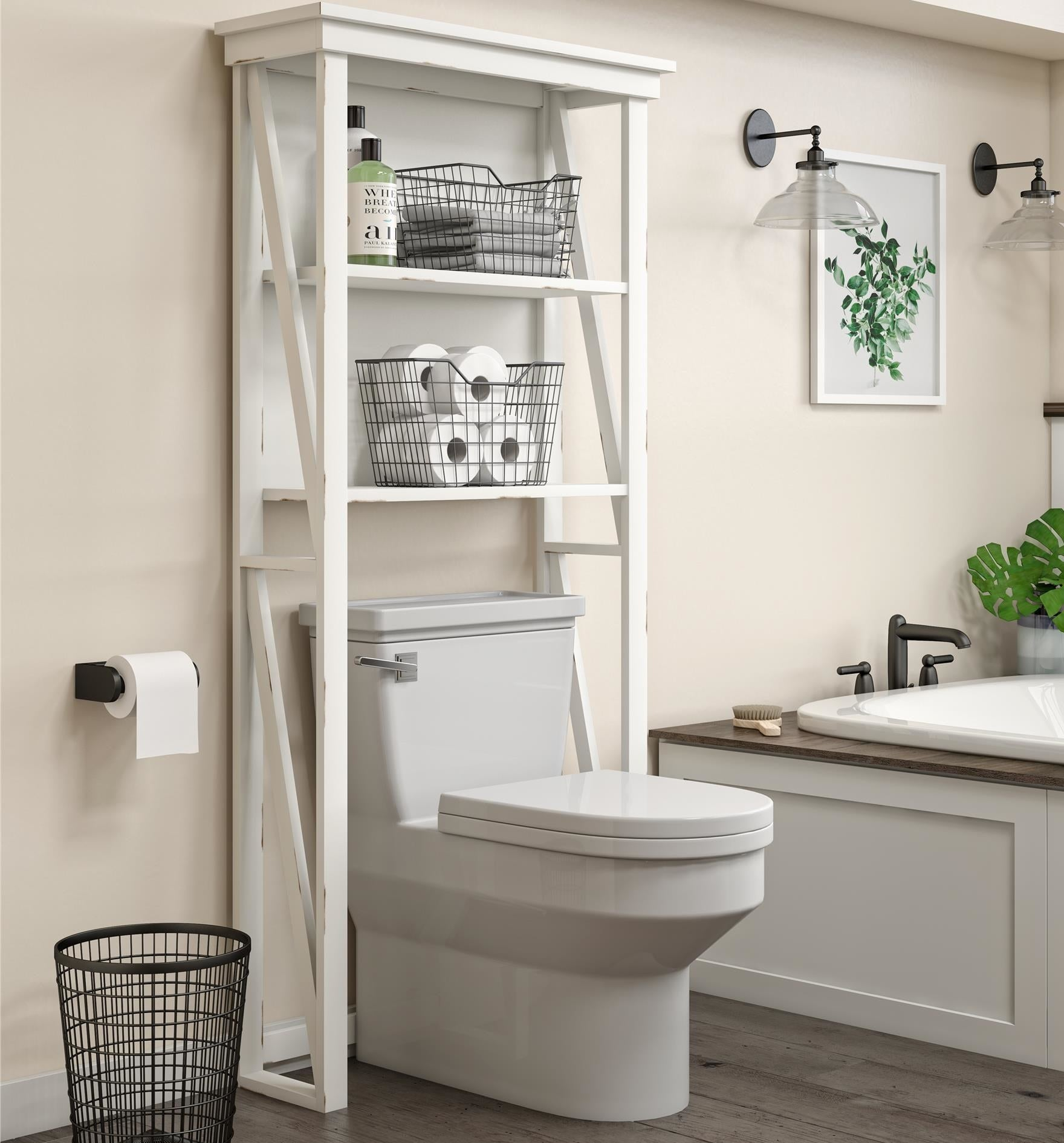 The over-the-toilet open storage cabinet with two shelves