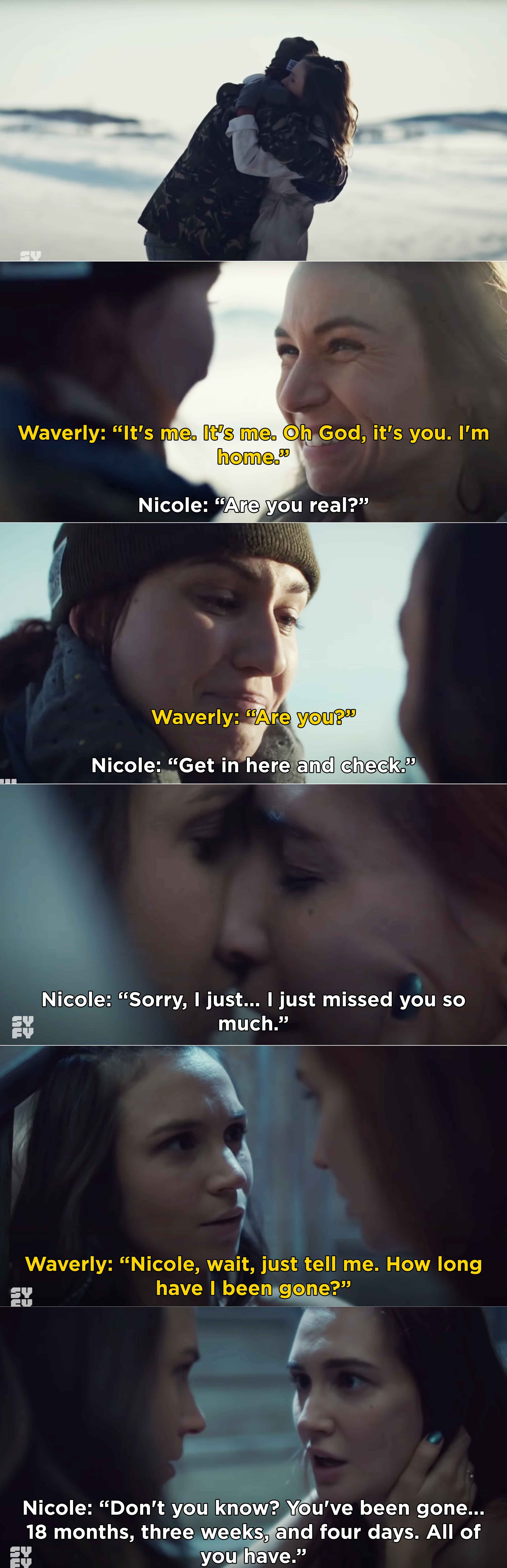"Nicole telling Waverly, ""Don't you know? You've been gone... 18 months, three weeks, and four days. All of you have"""