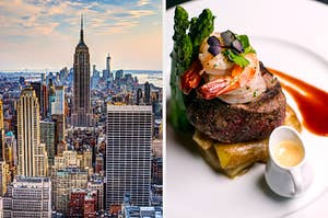 On the left, a view of the skyscrapers in New York City as the sun begins to set, and on the right, a plate of filet mignon, shrimp, and asparagus