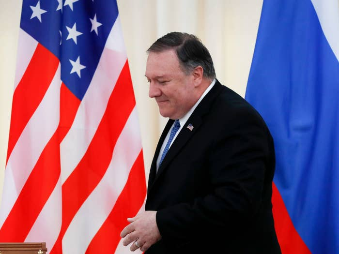 Secretary of State Mike Pompeo at a press conference with Russia's foreign minister in May 2019