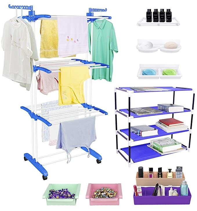Clothes, stationery, beauty products and chocolates organised with the combo organiser.