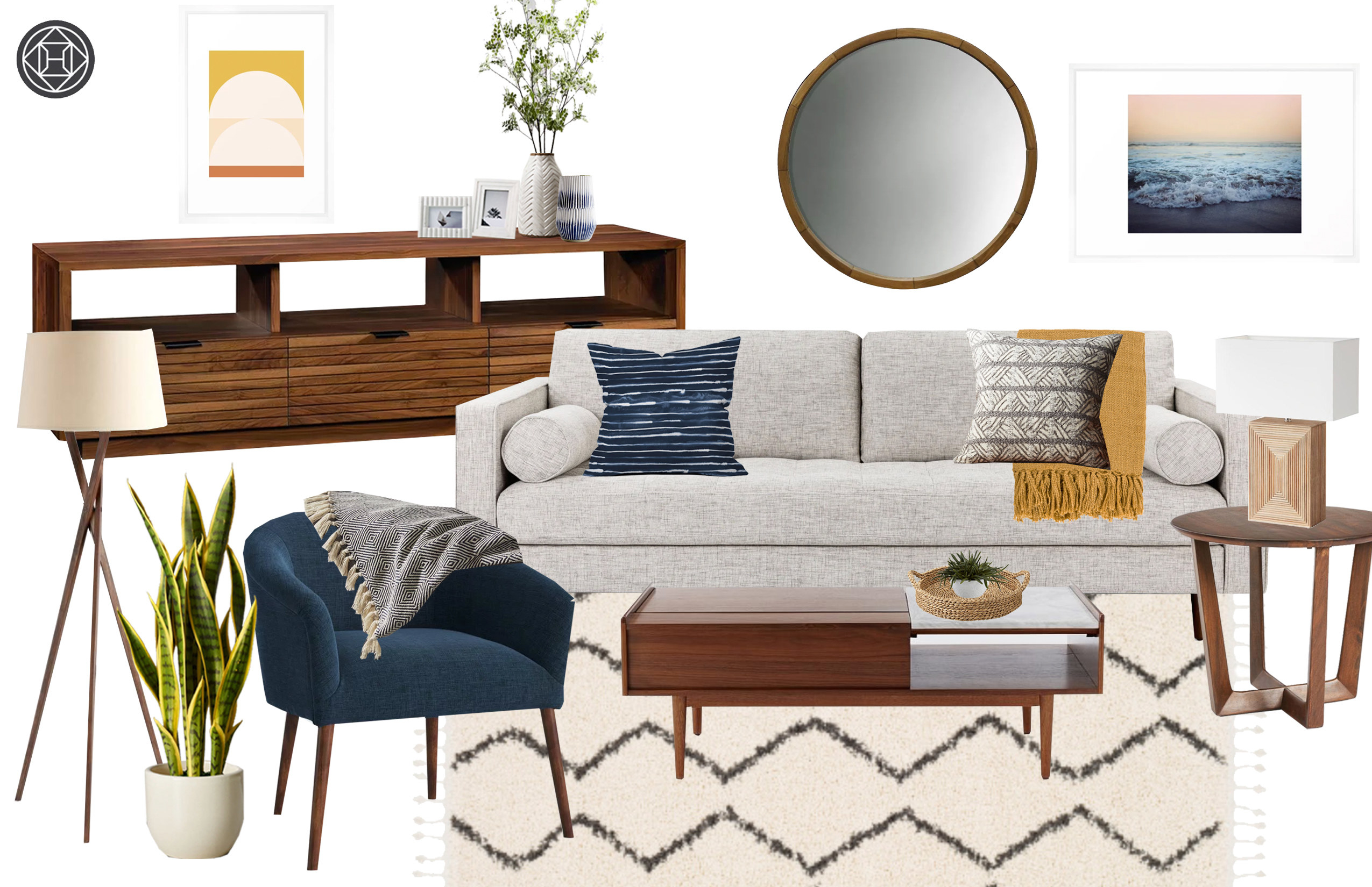 A concept board featuring a compilation of possible furniture items for the living room. Includes a wooden circular wall mirror, artwork, wood lamps, a stylish wood coffee table, a blue armchair, a cream-colored carpet, and a light gray couch.