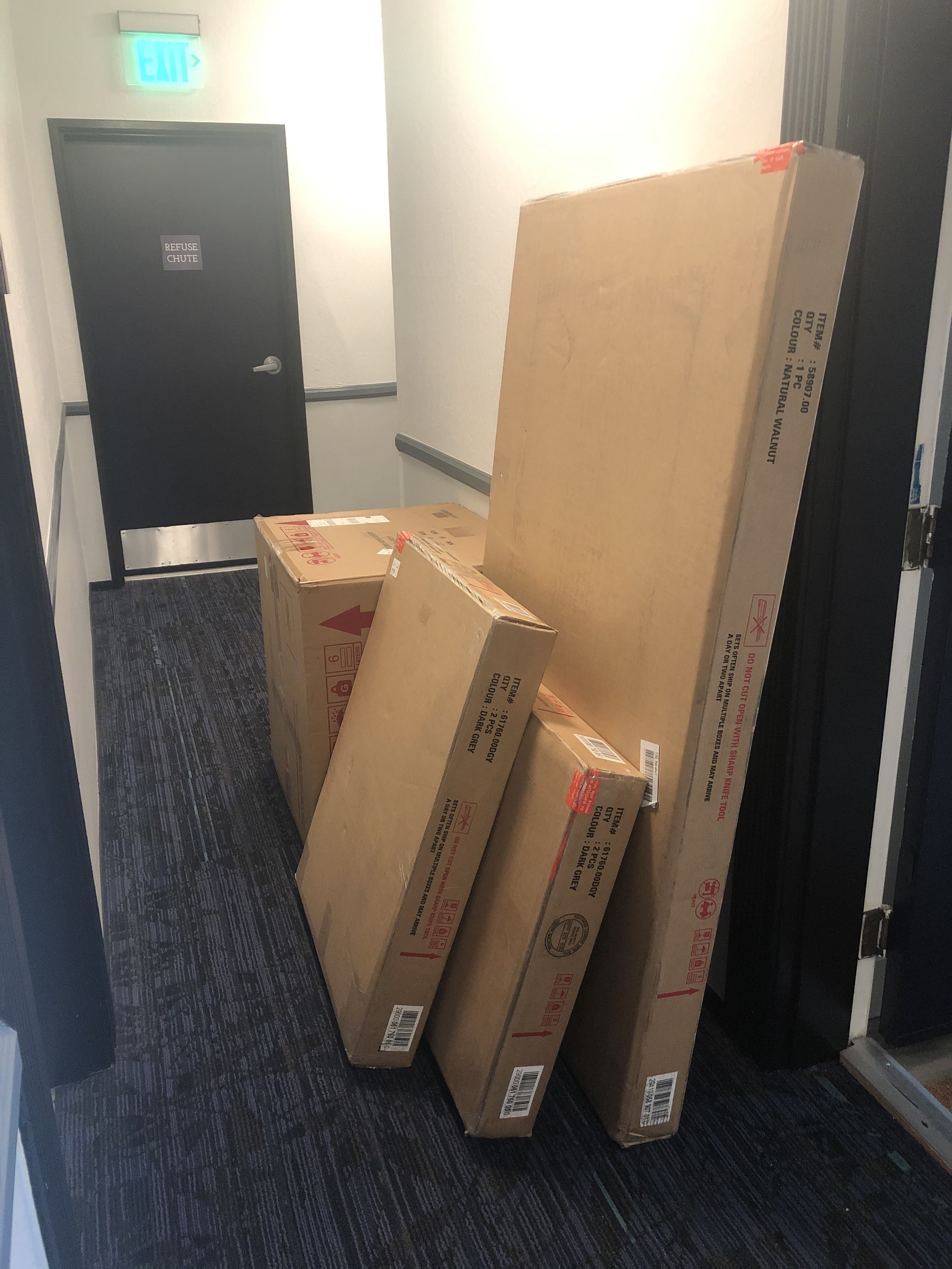 Photo of giant packages resting outside apartment door.