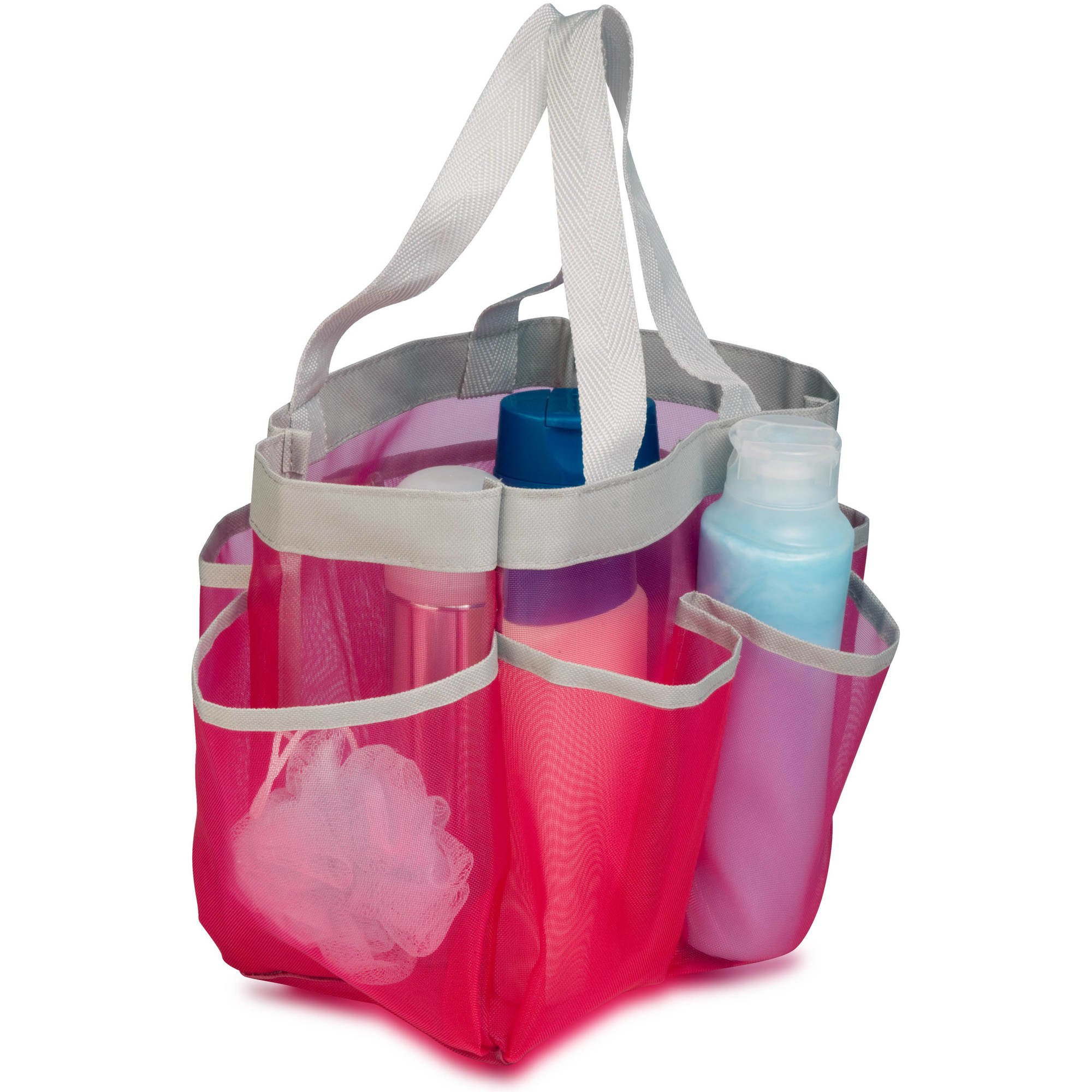 The mesh pink shower caddy with pockets all around the sides