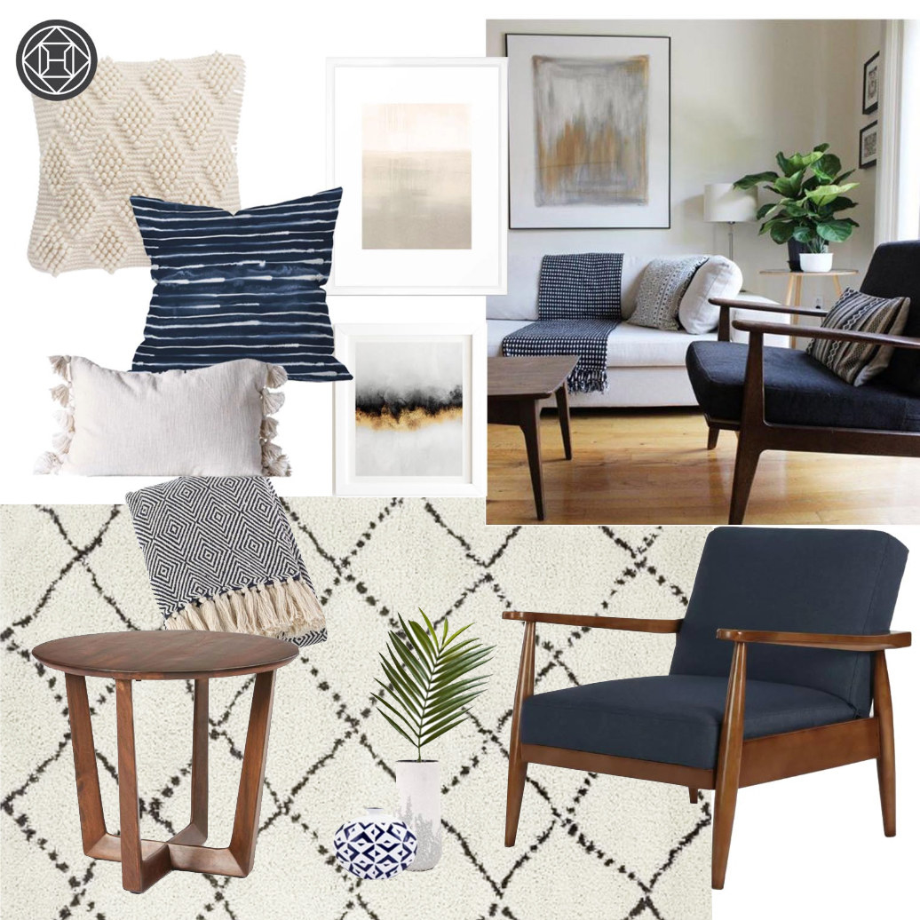 A design idea featuring a compilation of mid-century modern furniture with blue and white coastal colors.