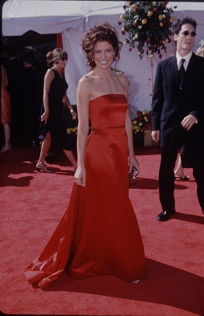 Debra Messing on the Emmy's red carpet