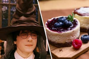 Harry Potter is wearing a sorting hat on the left with a plate of cheesecake on the right