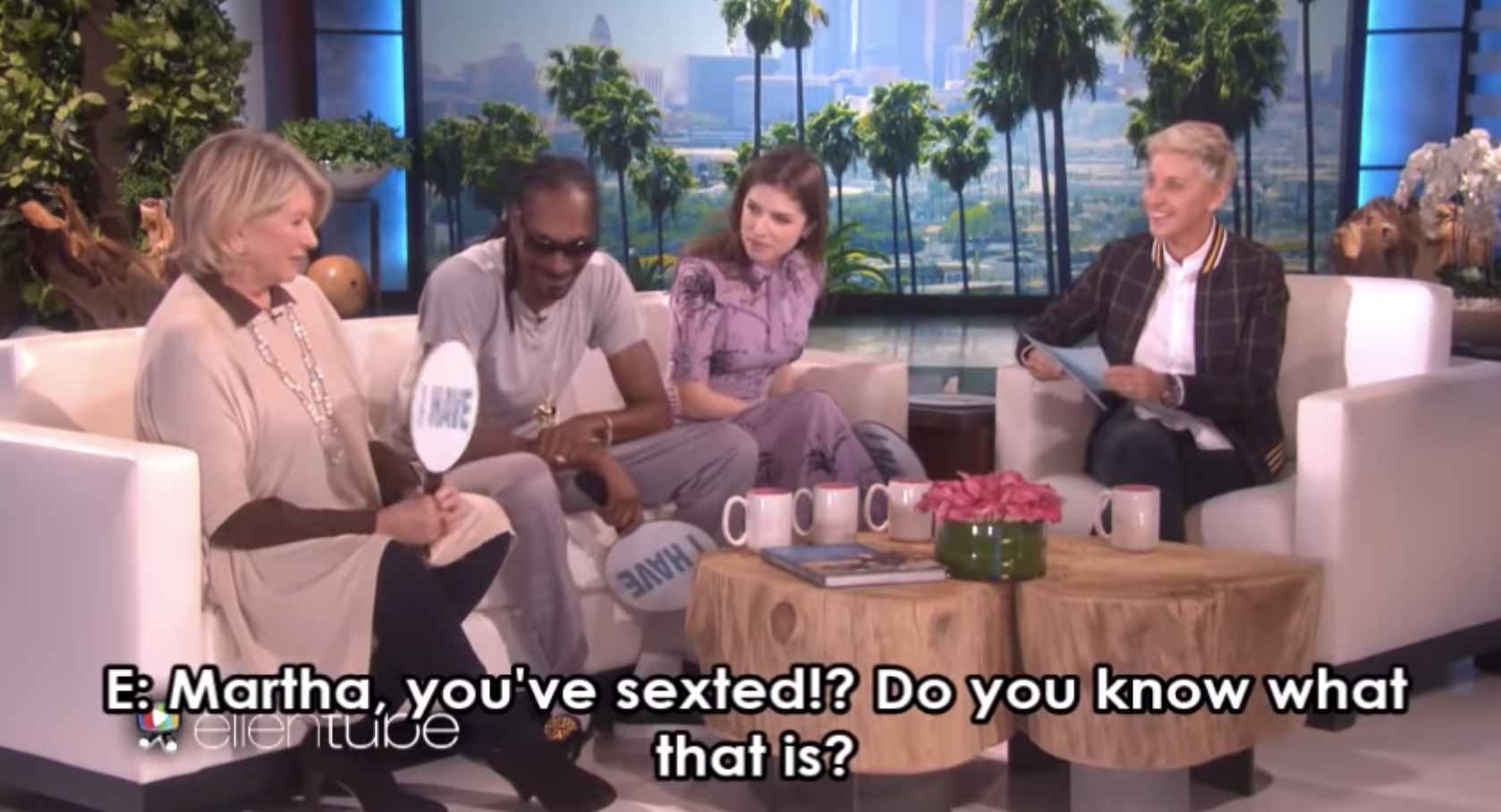 Ellen asking Martha Stewart if she's sexted