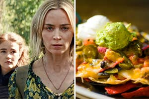 """""""A Quiet Place"""" characters are on the left with a large pile of nachos, guacamole, and sour cream on the right"""