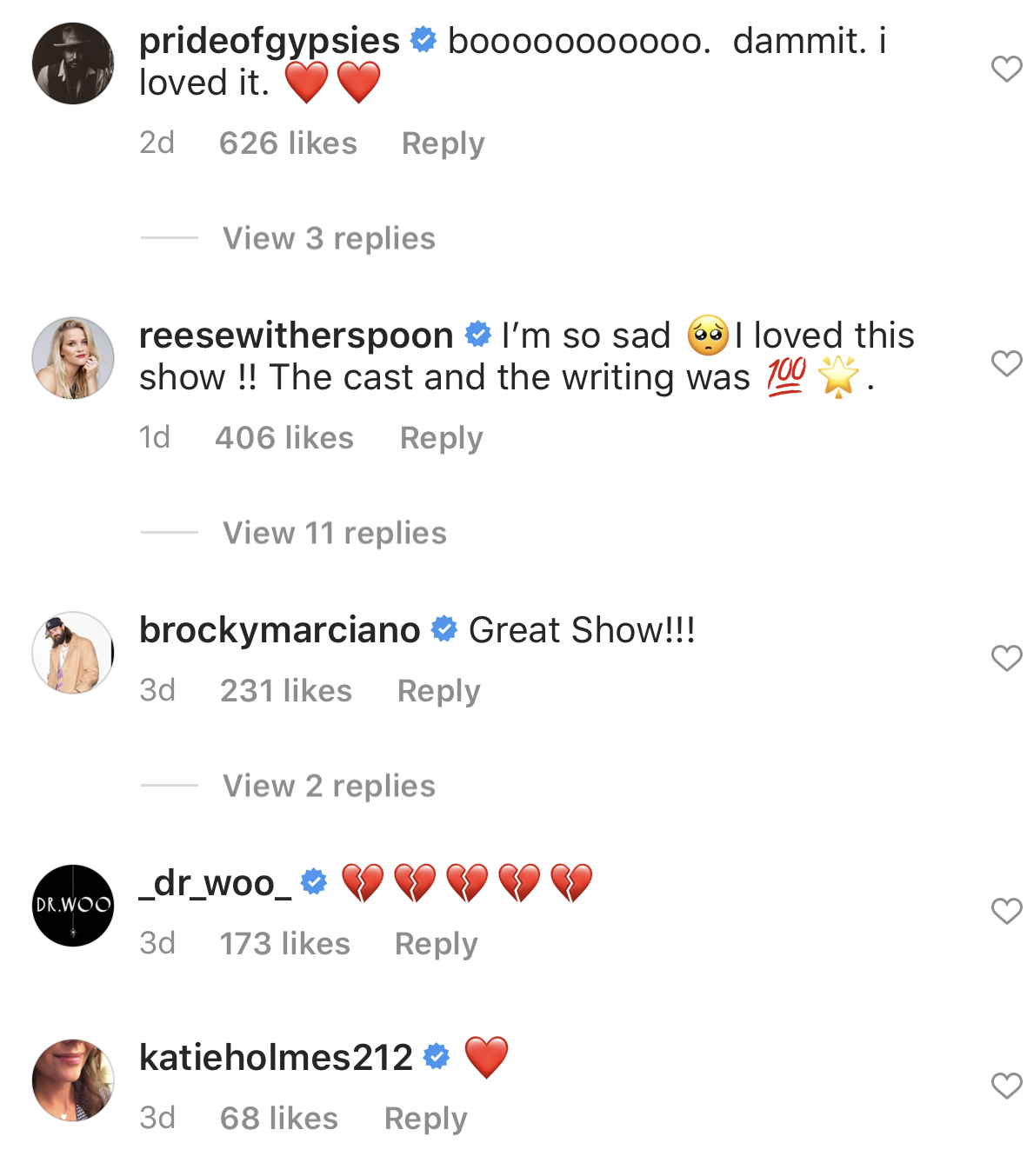 """""""Boooo, damnit I loved it,"""" commented by Jason Momoa and """"I'm so sad, I loved this show, the cast and writing was 100%"""" commented by Reese Witherspoon"""