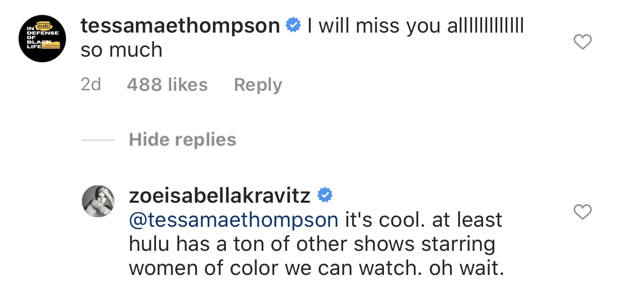 """""""I will miss you allllllll so much,"""" Tessa commented"""
