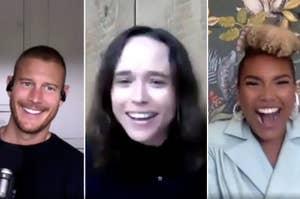 Tom Hopper, Ellen Page, and Emmy Raver-Lampman smiling