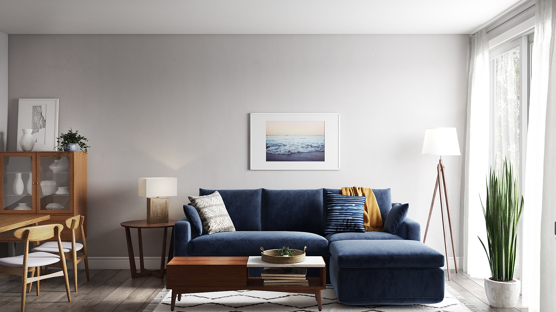 Photorealistic 3D rendering of my completed living room.
