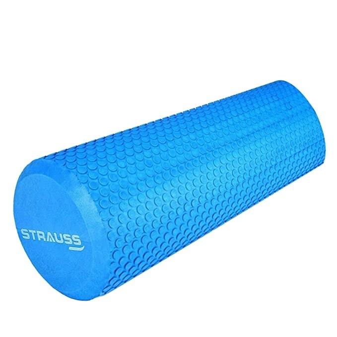 Blue foam roller.