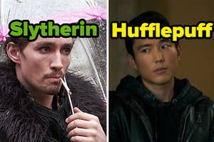 """Klaus is on the left, labeled """"Slytherin,"""" and Ben is on the right, labeled """"Hufflepuff"""""""