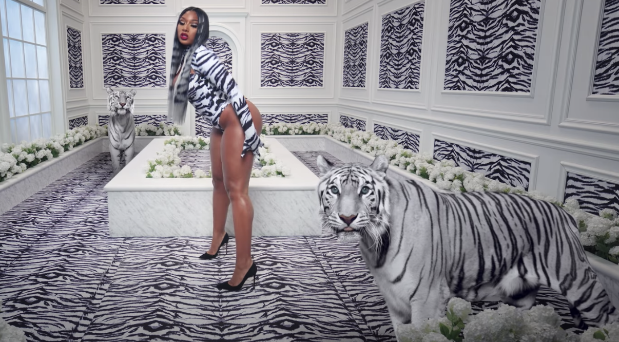 """Megan Thee Stallion posing with tigers, which were included in the """"WAP"""" video via green screen"""