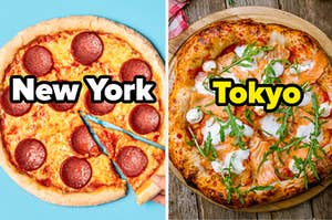 "Pepperoni pizza labeled, ""New York"" on the left, with a buffalo pizza labeled, ""Tokyo"" on the right"