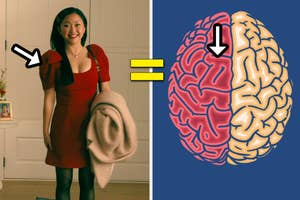 Lara Jean is wearing a short sleeve dress with an arrow pointing at the shoulders and an arrow on the left side of a brain photo